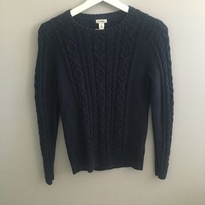 L.L. Bean Navy Cable Knit Sweater